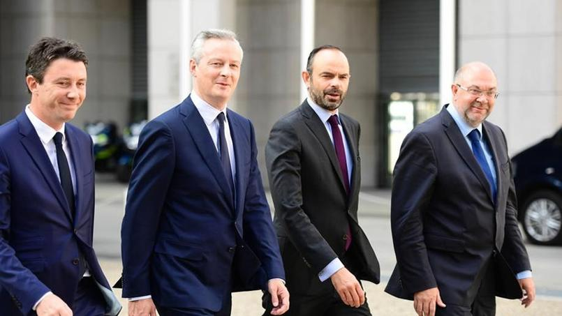 De gauche à droite: Benjamin Griveaux, Bruno Le Maire, Édouard Philippe et Stéphane Travert , arrivent aux États généraux de l'alimentation.