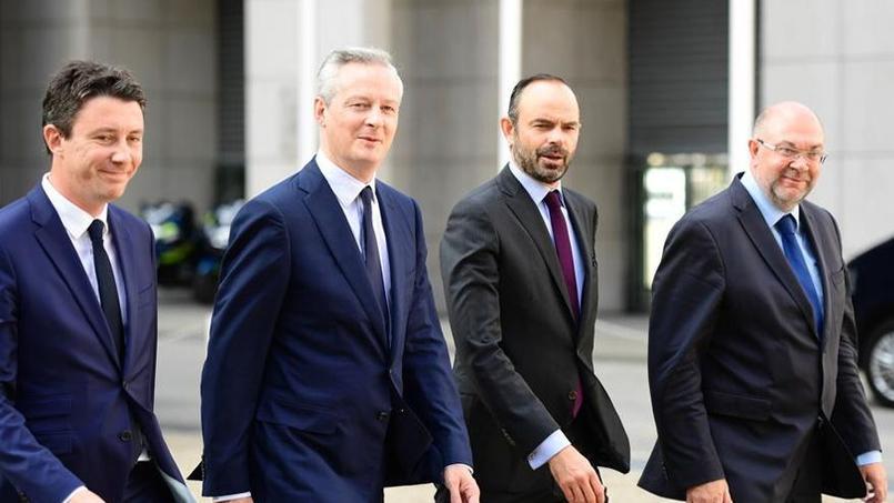 Benjamin Griveaux (secrétaire d'État auprès du ministre de l'Économie), Bruno Le Maire (ministre de l'Économie et des Finances), Édouard Philippe (premier ministre), et Stéphane Travert (ministre de l'Agriculture), jeudi matin à Bercy pour la journée inaugurale des états généraux de l'alimentation.