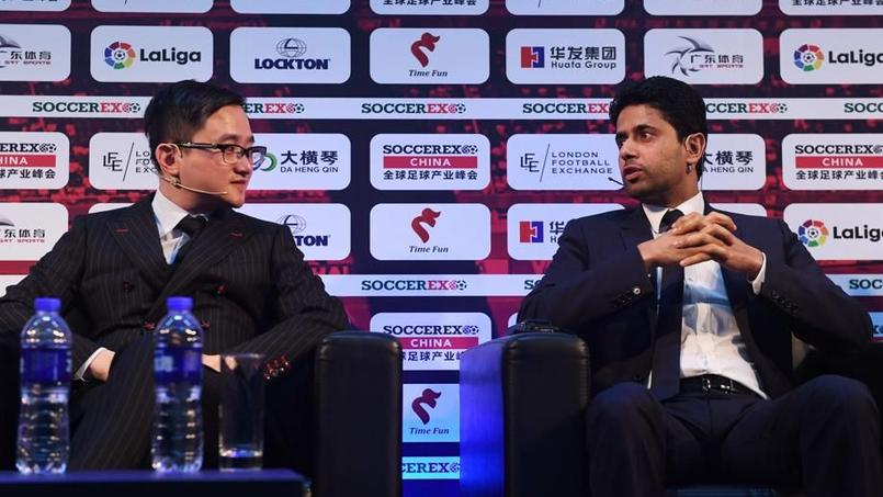 John Jiang (président de Desports) au côté de Nasser Al-Khelaïfi.