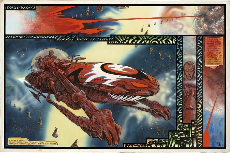 Lone Sloane, «Salammbô», 1980, encre de Chine, gouache, acrylique et aérographe sur papier, double planche 21-22. Crédits: Philippe Druillet/ Mel Puplisher.
