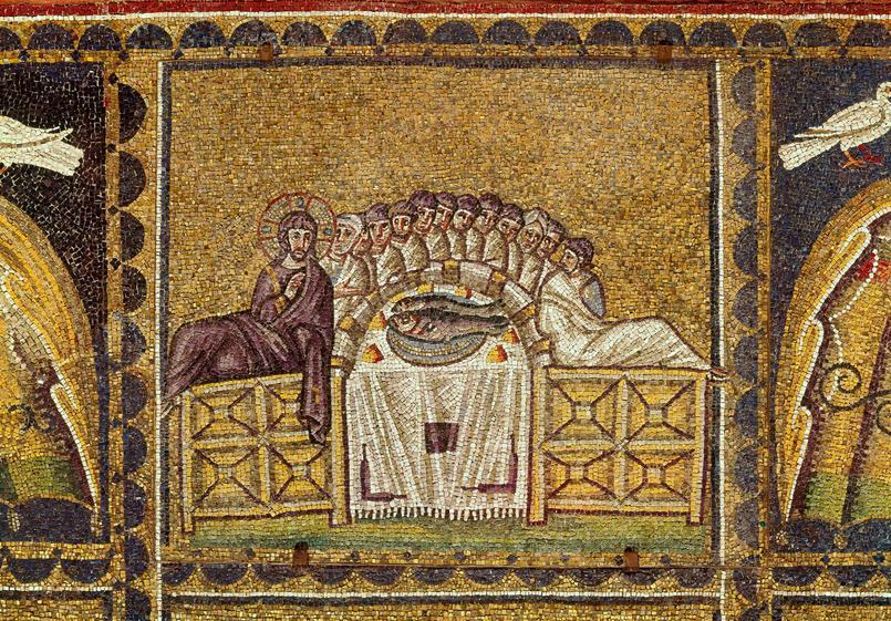 «La Cène» mosaïque murale, Ravenne, Basilica di Sant'Apollinare Nuovo, VIe siècle après J.C.