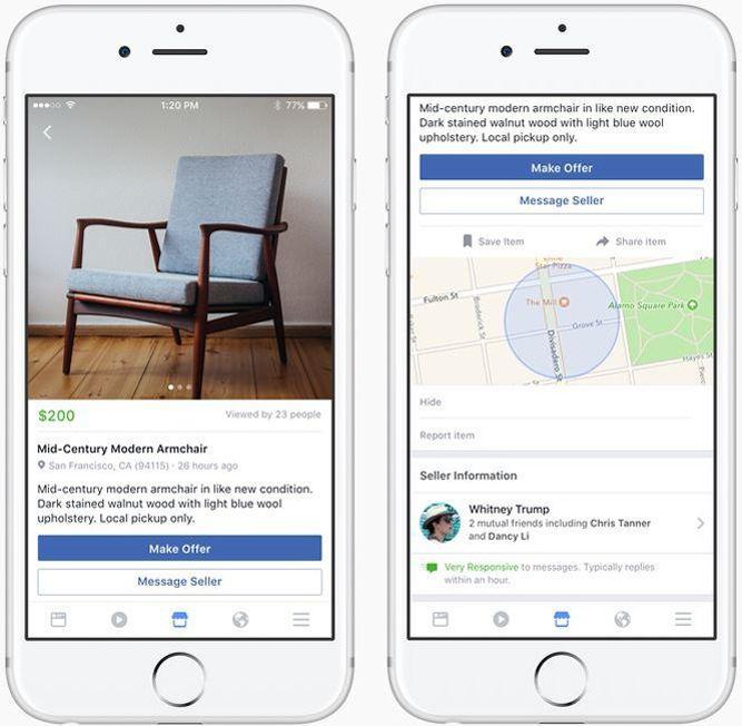 The platform «Marketplace» on  version améamerican of Facebook.