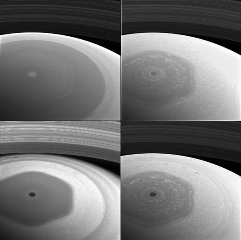 Ce montage montre quatre photos du pôle nord de Saturne prises par la sonde Cassini avec quatre filtres spectraux différents - NASA/JPL-Caltech/Space Science Institute