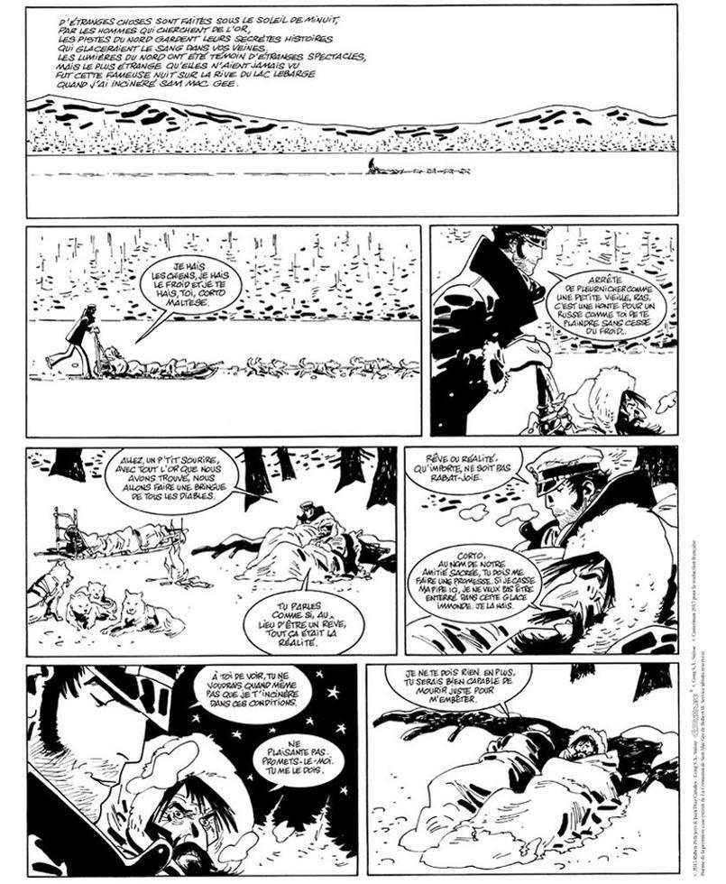 La première planche de la nouvelle aventure de Corto Maltese Sous le soleil de Minuit, signée Ruben Pellejeo et Juan Díaz Canales, qui paraît le 30 septembre, chez Casterman.
