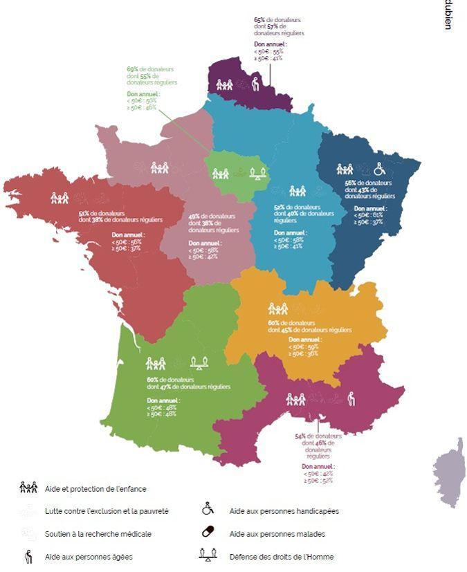 Répartition of donation by région.  Source: France générosités