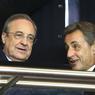 Nicolas Sarkozy, ici en discussion avec le président du Real Madrid, Florentino Perez.