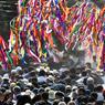 La foule est en liesse après la messe du Pape François à Morelia dans l'Etat de Michoacan, le 16 février.