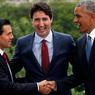 «TROIS AMIGOS». Le Premier Ministre canadien accueillait les présidents américain et mexicain dans le cadre du Sommet des leaders nord-américains organisé à Ottawa, mercredi 29 juin. Après avoir posé pour cette photo, messieurs Trudeau (au centre), Nieto (à gauche) et Obama (à droite) ont discuté de mesures visant à créer des emplois et accélérer la croissance tout en respectant l'environnement.