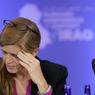 FATIGUE. L'ambassadrice américaine aux Nations-Unies Samantha Power et le secrétaire d'Etat John Kerry lors d'une conférence de soutien pour l'Irak, où étaient également représentés le Koweït, le Canada, l'Allemagne et les Pays-Bas, le 20 juillet.