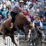 RODÉO. Comme chaque année durant la Semaine Sainte, des gauchos (cowboys) se retrouvent pour une compétition équestre, à leurs risques et périls, dans la ville de Montevideo, la capitale de l'Uruguay. L'objectif des cavaliers, qui montent sans selle : parvenir à dompter ces chevaux sauvages sans se blesser !