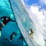 MI-AIR, MI-EAU.Pour nous montrer cet étonnant envers du décor sous-marin d'une compétition de surf sur les rouleaux furieux de la légendaire North Shore d'Hawaï, le photographe Sash Fitzsimmons a pris de très grands risques. L'œil rivé dans le viseur de son objectif fish-eye, qui lui permet de voir à la fois dans et hors de l'eau, il s'est en effet placé dans la trajectoire exacte du surfeur lancé à pleine vitesse sur la vague. Dans quelques dixièmes de seconde, s'il ne replonge pas immédiatement sous l'eau, c'est le choc. Comme lui, des dizaines de cadreurs et de photographes passionnés voyagent dans le monde entier pour essayer de capturer les plus belles images de surf, un sport extrême qui les fascine comme aucun autre. A leurs risques et périls.