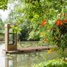 «Fragments» du collectif Gama, s'inspire du kusamono, une technique japonaise d'art floral qui signifie littéralement «herbe-objet». Au second plan, «Hydrophone», du collectif PIP Partnership Ltd, vous fait écouter avec un vrai téléphone les bruits du marais.