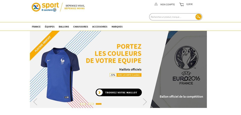 leclerc surfe sur l 39 euro 2016 pour lancer un nouveau site de vente en ligne d di au sport. Black Bedroom Furniture Sets. Home Design Ideas