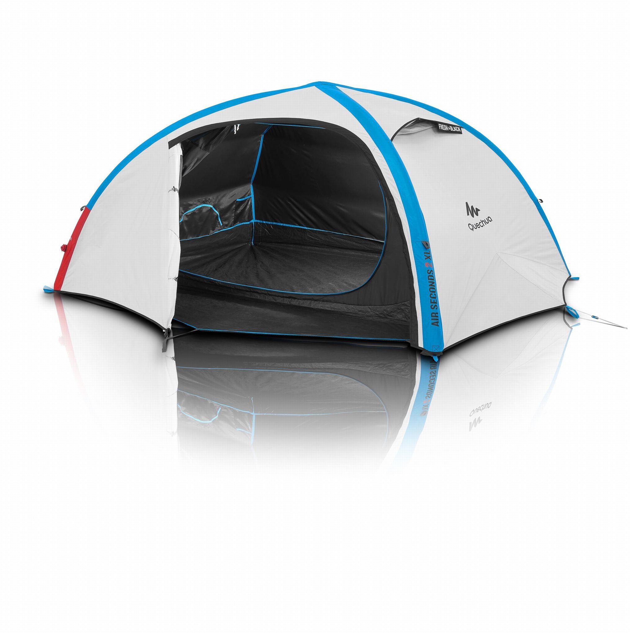 Quechua le camping 5 toiles en 2 minutes pompe en main for Toile de tente 4 chambres