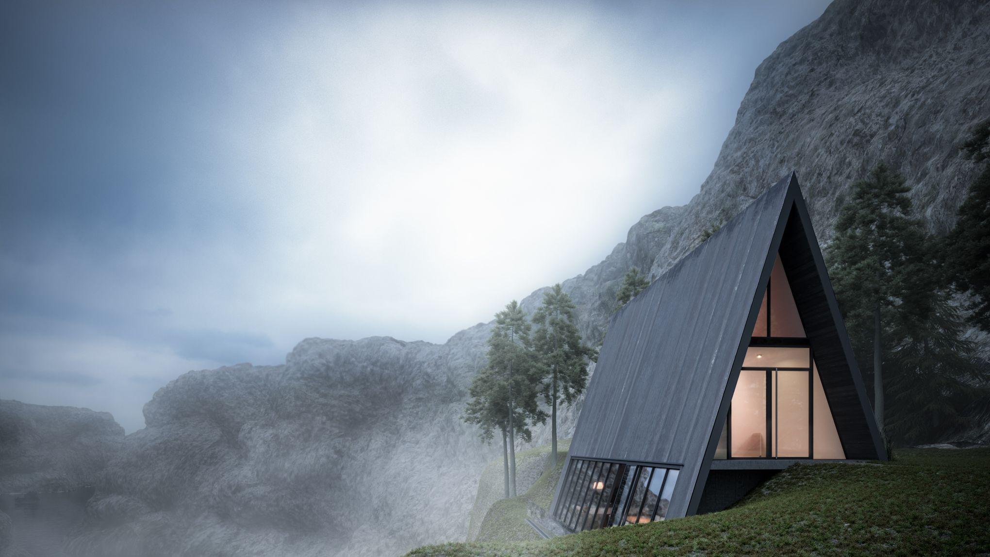 Une maison triangulaire en verre au bord d 39 une falaise - Le verre maison ...