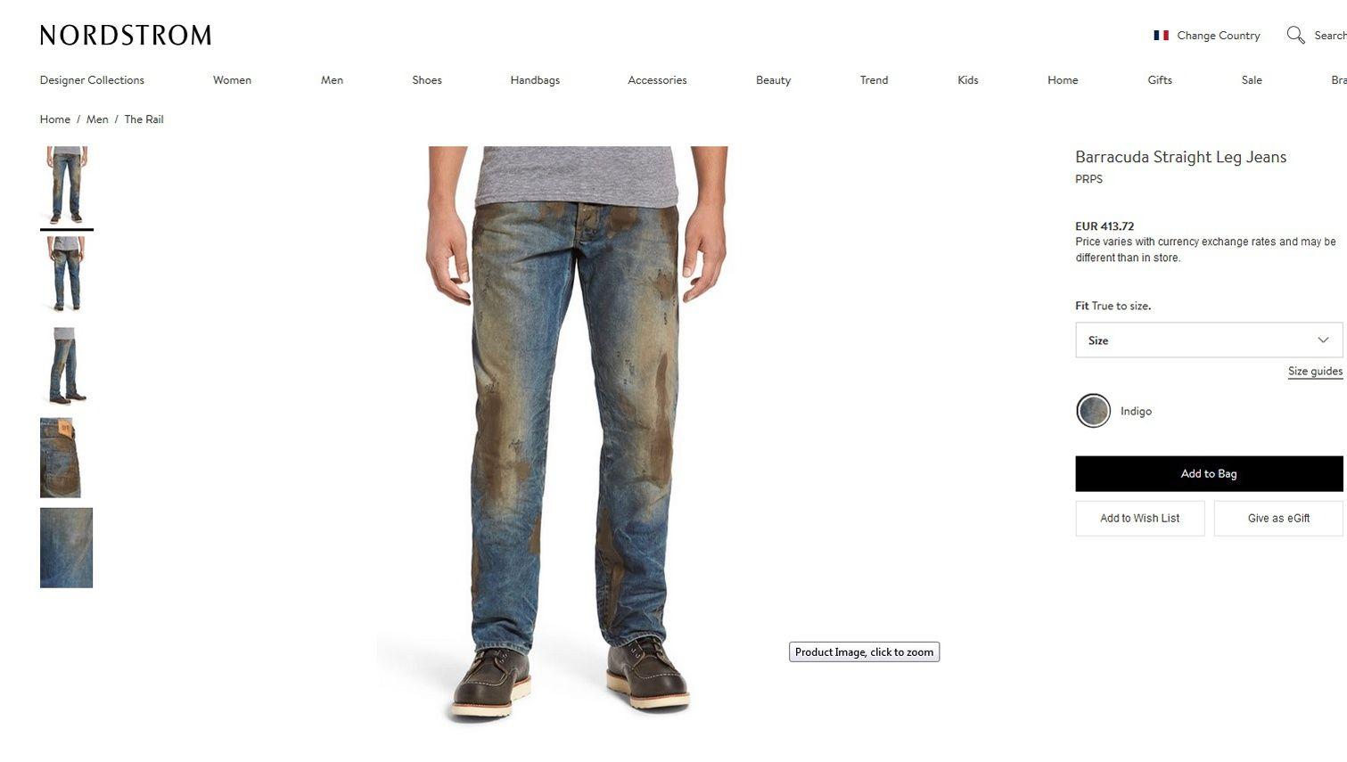 Ce jean taché de fausse boue coûte 415 euros