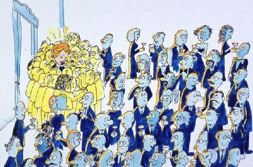 Les bosons de Higgs s'attroupent autour de la star de la soirée (Margaret Thatcher dans ce dessin). (crédits: CERN)