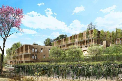 A Aix-en-Provence, 350 salariés de l'opérateur téléphonique vont s'installer dans quatre petits immeubles construits en bois.
