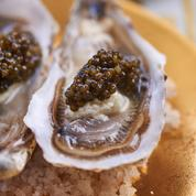Huîtres crues au caviar