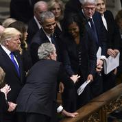 Michelle Obama et George W. Bush, plus complices que jamais aux funérailles de Bush père
