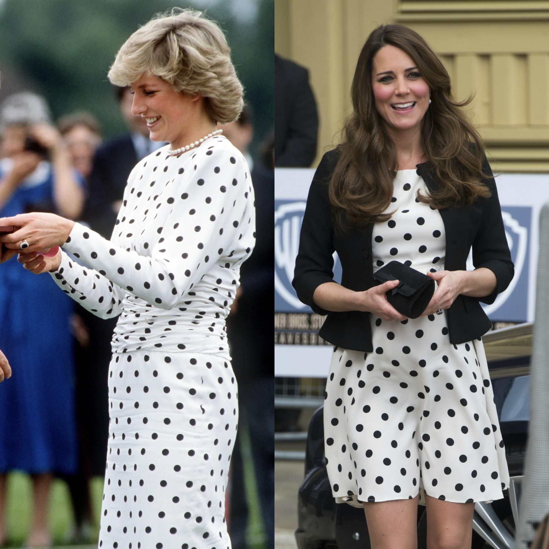 Les points communs mode de Lady Diana et Kate Middleton - Les pois