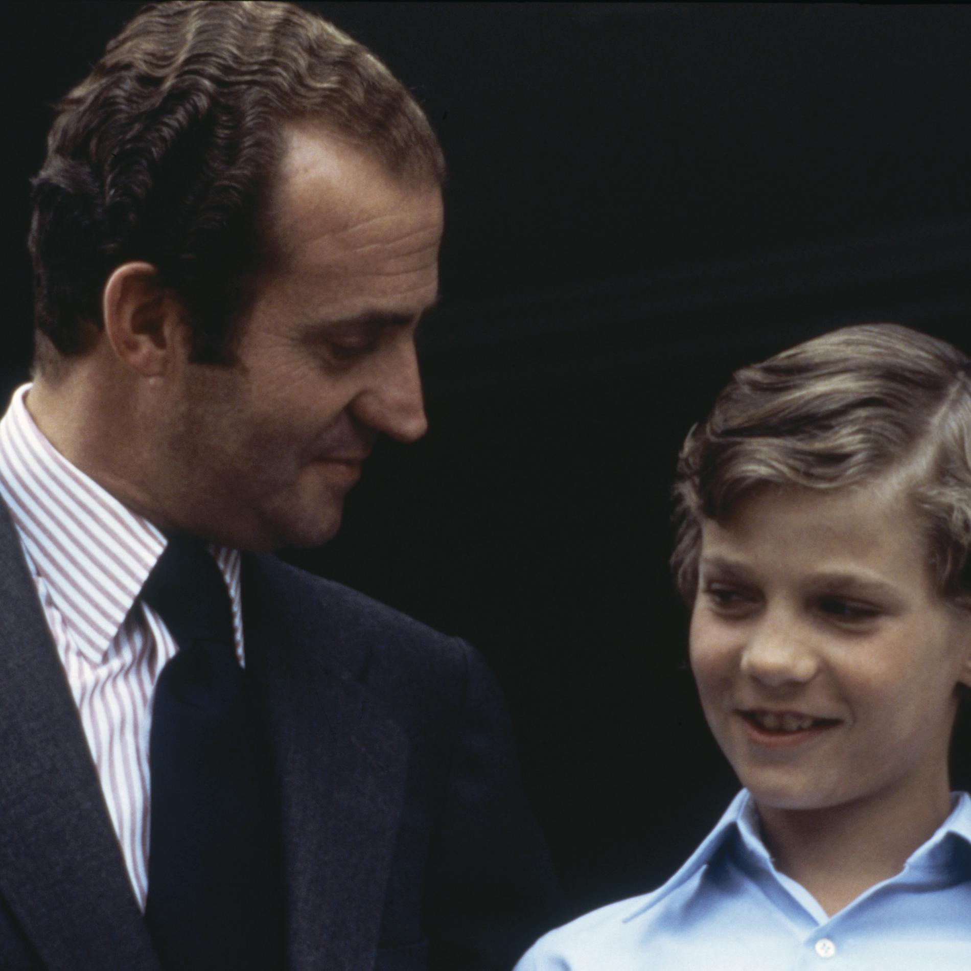 Juan Carlos d'Espagne et le prince Felipe