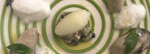 Huîtres pochées guacamole citronnelle et son sorbet pomme vodka citron