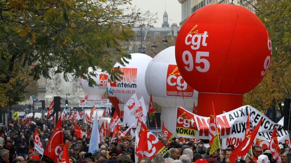 Une manifestation contre la réforme du Travail, le 16 novembre 2017 à Paris.
