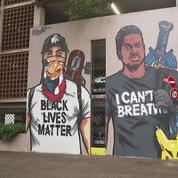 Une fresque en hommage à George Floyd peinte en face d'un poste de police à Grenoble