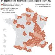 Coronavirus : découvrez la carte des 54 départements concernés par le couvre-feu