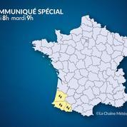 Météo : précipitations et chutes de neige dans les Landes et les Pyrénées
