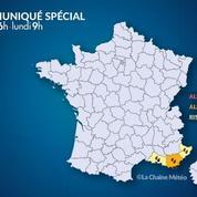 Alerte à la pluie et à la neige en Provence-Alpes-Côte d'Azur