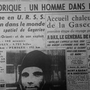 Youri Gagarine, le premier voyageur de l'espace à la une du Figaro le 12 avril 1961