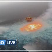 Un incendie spectaculaire émerge de l'océan au large du Mexique