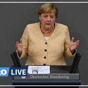 Allemagne : au Bundestag, Merkel apporte un soutien appuyé au conservateur Laschet