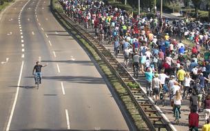 Des milliers d'Allemands défilent à vélo contre l'automobile à Francfort