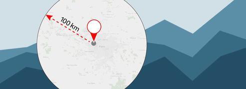 Comment calculer facilement un rayon de 100 km autour de mon domicile ?