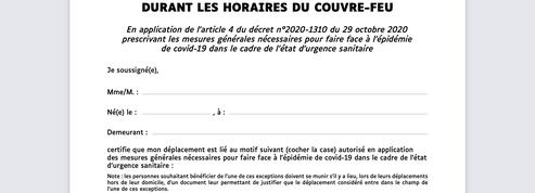 Attestation couvre-feu à 18 heures : téléchargez le formulaire papier ou smartphone
