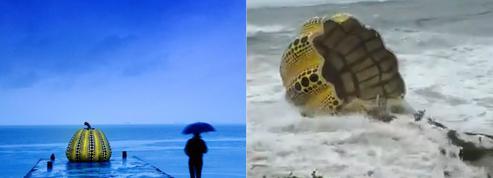 La Citrouille de Yayoi Kusama détruite par le passage d'un typhon au Japon
