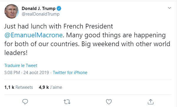 G7: Trump identifie un compte Twitter parodique d'Emmanuel Macron