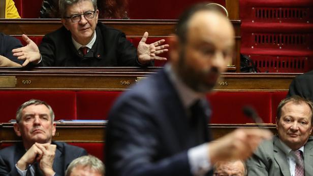 Jean-Luc Mélenchon et Edouard Philippe à l'Assemblée, le 3 mars