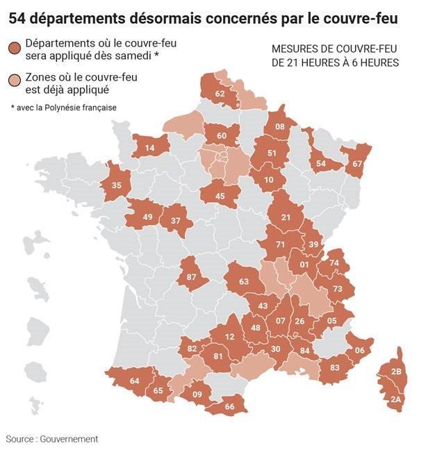 Coronavirus Decouvrez La Carte Des 54 Departements Concernes Par Le Couvre Feu