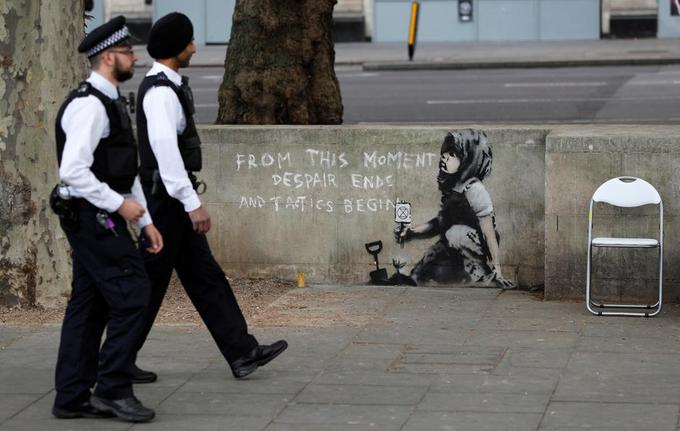 Photo de la nouvelle peinture de Banksy à Londres.