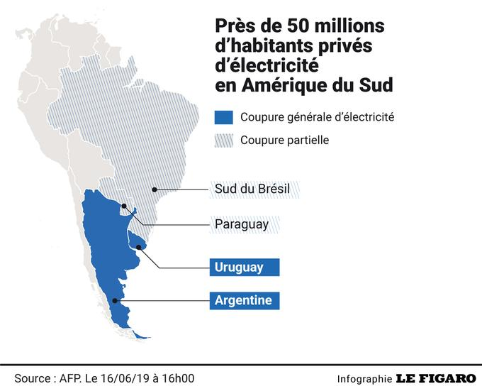Pannes massives d'électricité en Argentine et en Uruguay