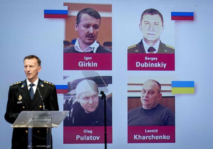 Les quatre suspects (trois russes et un ukrainien) qui feront l'objet d'un procès aux Pays-Bas pour homicide.