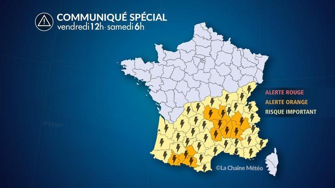 Dix départements sont placées en alerte orange «orages».