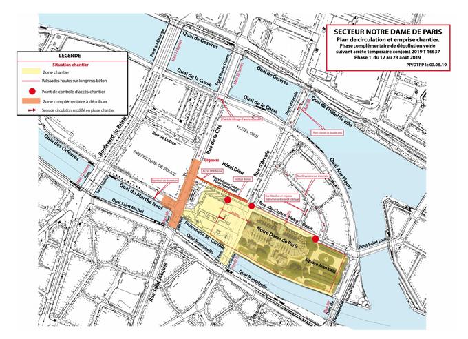 Les zones de dépollution autour de Notre-Dame.
