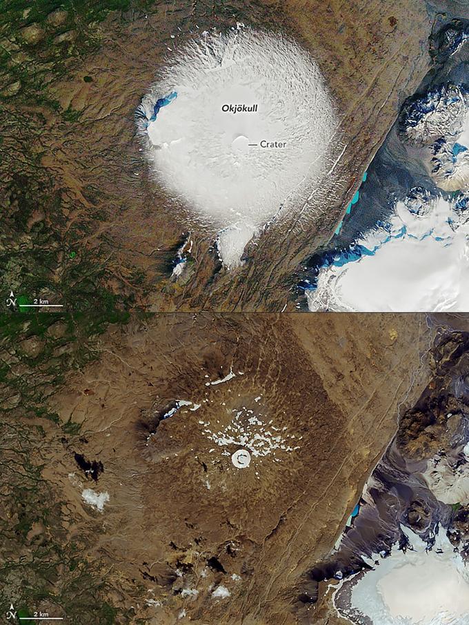 Le glacier avant en 1986 et après, ce 1er août 2019