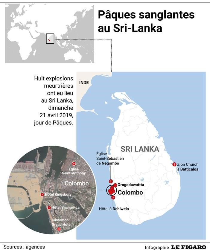 Les lieux des huit explosions au Sri Lanka.