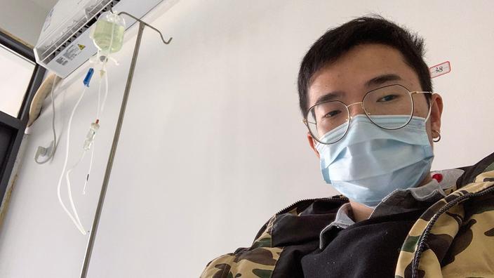 Foto de Xiao Yao, alcanzado de Coronavirus, tomado o 4 de febreiro no hospital.'hôpital.